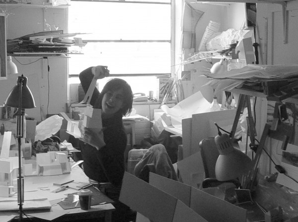 Anne Schroell in the Unit 17 studio in Wates House, 2003